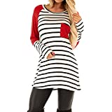Molyveva Women Fashion Stripe Print Shirt Casual Long Sleeve Pocket Tops Blouse