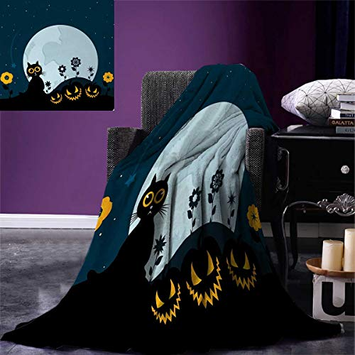 Anniutwo Halloween King Flannel Blanket Cute Cat Lanterns Moon on Floral Field Starry Night Sky Star Cartoon Art Weave Pattern Extra Long Blanket 90