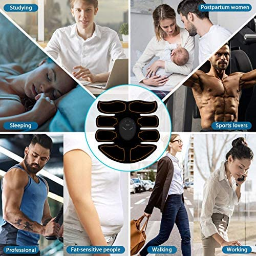 Abs Stimulator - Automatic Fitness System - Portable Fitness Workout Equipment - Home Office Exercise for Men Women with 12 Extra Gel Pads 6