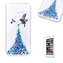 For Samsung Galaxy A5 (2017 Model) Case Cover [with Free Screen Protector],Funyye Luxury Bling Glitter Soft TPU Silicone with Crystal Fairy Angel Girl Pattern Protective Case for Samsung Galaxy A5 (2017 Model)-Blue