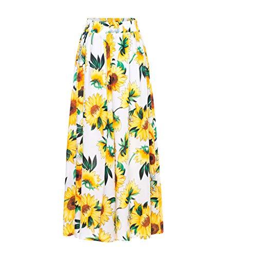 HENWERD Women's Boho Printed Beach Skirt High Waist A-Line Ankle-Length Slim Long Skirt - Long Slim Skirt