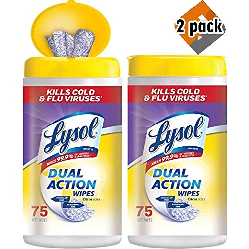 Lysol Dual Action Disinfecting Wipes Value Pack, Citrus, 150ct, Pack 4