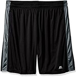 Russell Athletic Men's Big and Tall Dri-Power Short With Contrast Side Panel, Black/Charcoal, 2X