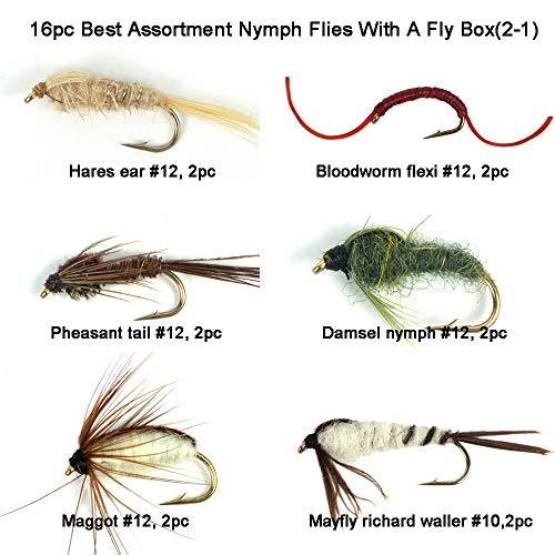 Riverruns Best Assortment 8 Patterns Nymph Flies Collection Total 16 Flies with A Fly Box, Zug Bug, March Brown, Bloodworm Flexi, Maggot, Damsel Nymph, Mayfly Richard Waller