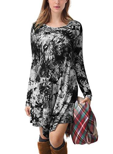 Buy black and grey tie dye dress - 9
