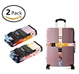 SWEET TANG Luggage Straps Suitcase Belts Travel Bag Accessories 2Pack, Tropical Palm Tree