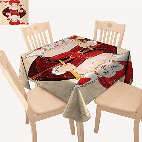 (Alice in Wonderland Table Cover Queen Cards Playing Alice Character in Fictional Fairy Tale Print Dinning Table Covers Red Brown Ecru W 54