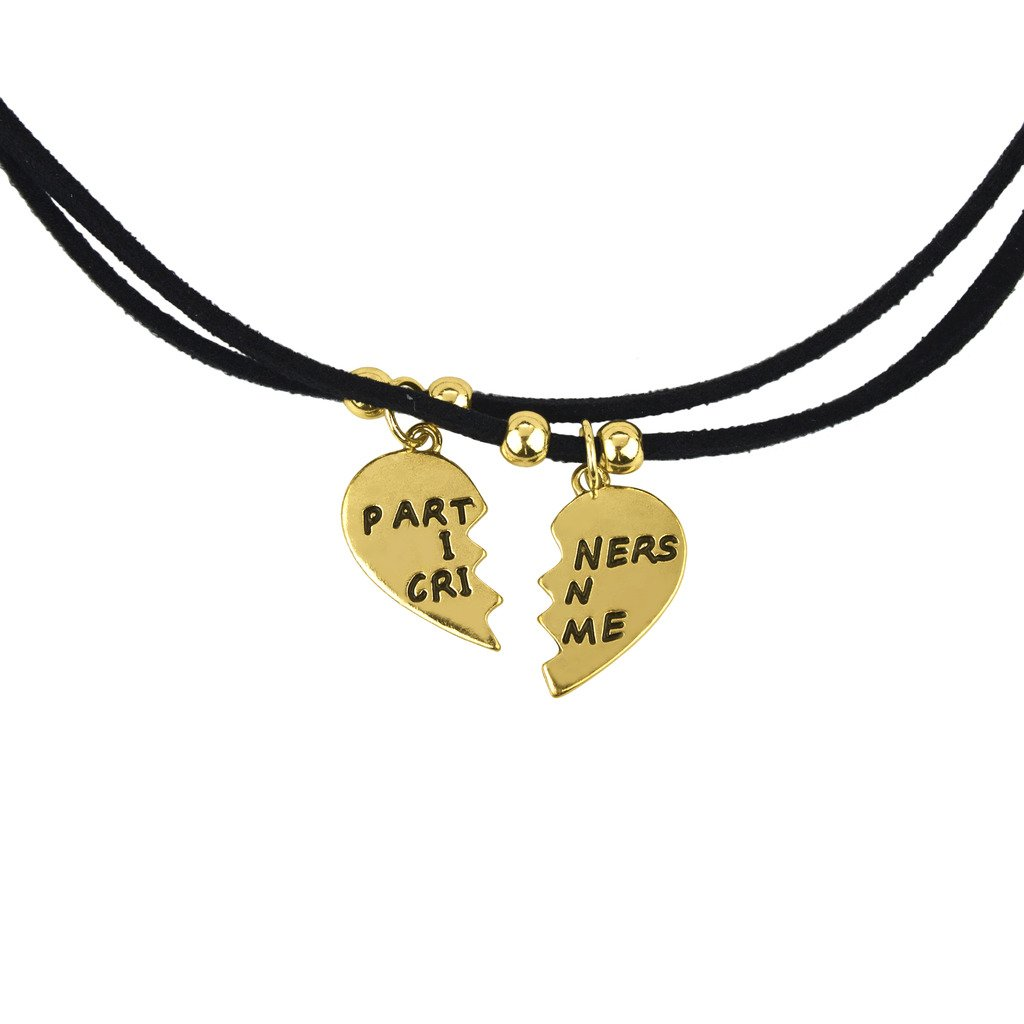Lux Accessories Partners in Crime BFF Best Friends Forever Rope Necklace 2 PC