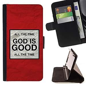 BullDog Case - FOR/Samsung Galaxy S6 / - / GOD IS GOOD /- Monedero de cuero de la PU Llevar cubierta de la caja con el ID Credit Card Slots Flip funda de cuer