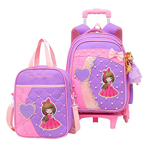 Adanina Princess Wind Girls Prints Students Rolling Backpack Elementary Middle Trolley School Bag Sets Wheeled Book Bag with Lunch ()