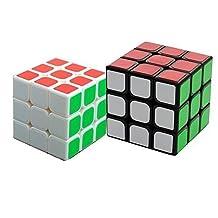 Qm-h Set 3x3x3 Sticker Speed Magic Cube Puzzle Classical Cubes 2 Pieces White and Black