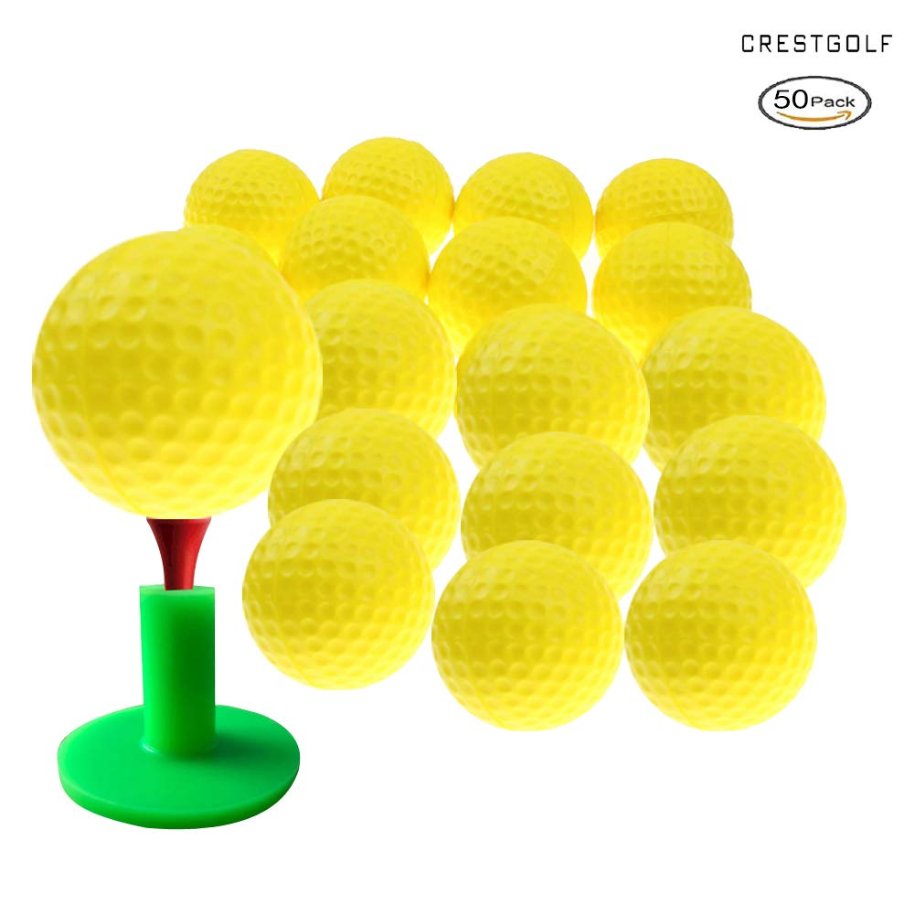 Crestgolf Foam Sponge Practice Golf Ball Soft Balls for Cats Kids 12/50 pcs per Bag (Yellow 50pcs) by Crestgolf