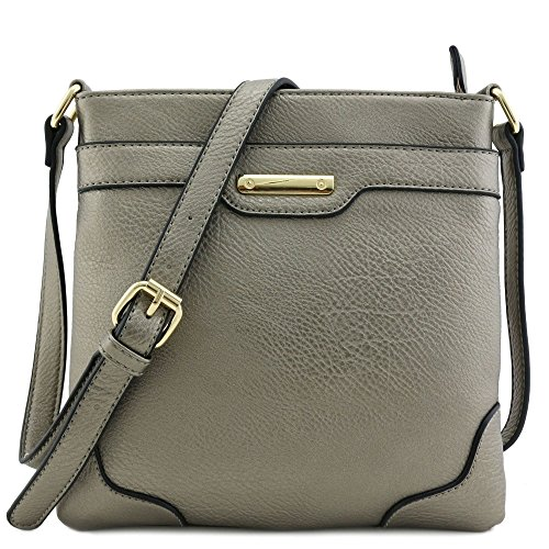 - Women's Medium Size Solid Modern Classic Crossbody Bag with Gold Plate (Pewter)
