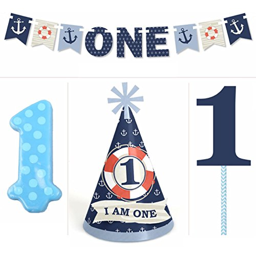 Ahoy Nautical - 1st Birthday Boy Smash Cake Kit - High Chair (Nautical First Birthday Supplies)