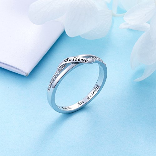 DAOCHONG Inspirational Jewelry Sterling Silver Engraved Believe All Things are Possible Band Ring for Women Girl, Size 6-8 (7) by DAOCHONG (Image #2)