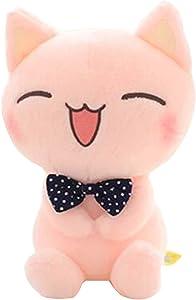 """ECTY Cute Stuffed Plush Doll, 11"""" Sitting Height Soft Stuffed Pink Cat Plush Toy"""