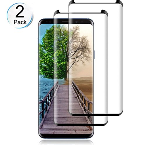[2 - Pack] Galaxy S9 Tempered Glass Screen Protector, Huritan - 9H Hardness,Anti-Fingerprint,Ultra-Clear,Bubble Free Screen Protector Compatible Samsung Galaxy S9(Black) by FURgenie