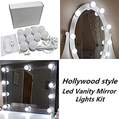 New Version Hollywood Style LED Vanity Mirror Lights Kit with 10 Dimmable Bulbs and Power Plug,Lighting Fixture Strip for Makeup Vanity Table Set in Dressing Room(Mirror Not Included)