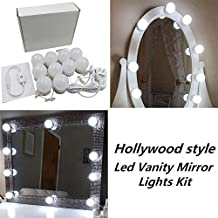 Hollywood Style LED Vanity Makeup Mirror Lights Kit with 10 Dimmable Bulbs,Lighting Fixture Strip for Makeup Vanity Table Set in Dressing Room(Mirror Not Included)