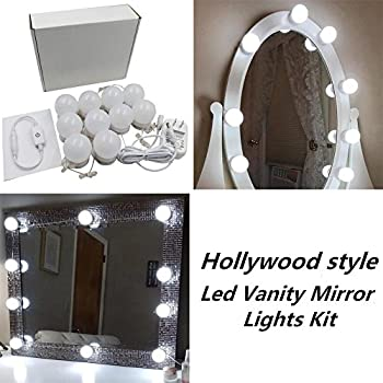 Hollywood Style LED Vanity Makeup Mirror Lights Kit With 10 Dimmable Bulbs, Lighting Fixture Strip For Makeup Vanity Table Set In Dressing Room(Mirror  Not ...
