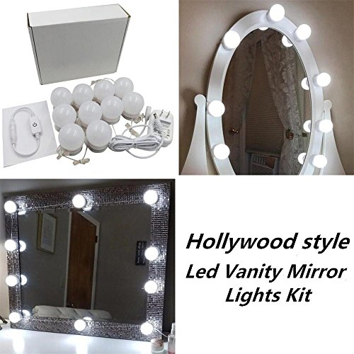 New Version Hollywood Style LED Vanity Mirror Lights Kit with 10 Dimmable Bulbs and Power Plug,Lighting Fixture Strip for Makeup Vanity Table Set in Dressing Room(Mirror Not (New Style Light)