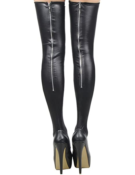 bb0357732 Amazon.com  ohyeahlady Women Leg Warmer Thigh High Stockings Knee High Faux  Leather Zipper Club Stockings  Clothing