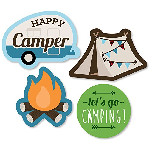 Big Dot of Happiness Happy Camper - DIY Shaped Camping Baby Shower or Birthday Party Cut-Outs - 24 Count