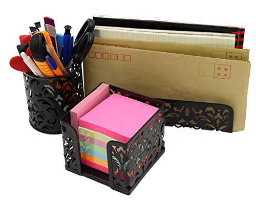 EasyPAG Carved Hollow Flower Pattern 3 in 1 Desk Organizer Executive Office Set - Letter Sorter Holder , Pen Holder and Stick Note Holder (Holder Pattern)