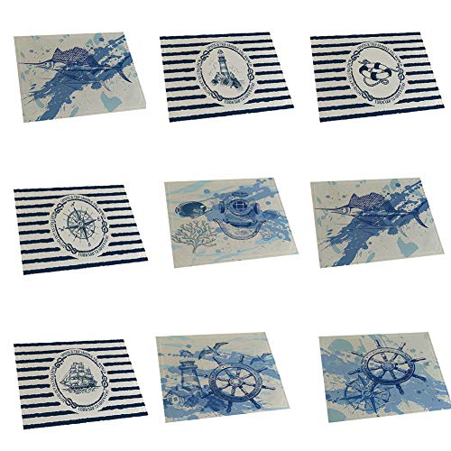 memorytime Fish Rudder Compass Heat Insulated Pad Kitchen Dining Table Mat Placemat Decor Kitchen Dining Supplies - 4# by memorytime (Image #3)