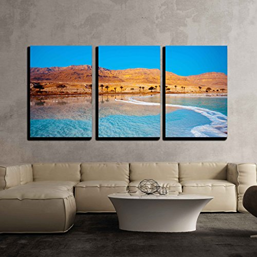 Sea Salt 3 Piece (wall26 - 3 Piece Canvas Wall Art - Dead Sea Seashore with Palm Trees and Mountains on Background - Modern Home Decor Stretched and Framed Ready to Hang - 16