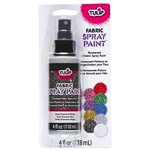 Tulip 27855 Fabric Spray Paint, 4-Ounce, Black Glitter