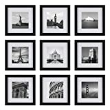 Upgraded Tempered Glass 9PCs 8x8 Picture Frames Black with 1 Mat for 4x4