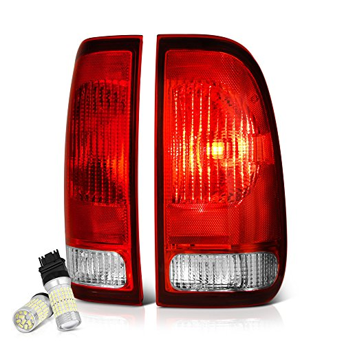 VIPMOTOZ Red Lens OE-Style Tail Light Lamp Assembly For 1997-2003 Ford F-150 & 1999-2007 F-250 F-350 Superduty Pickup Truck - Full SMD LED Reverse Bulbs Included, Driver & Passenger Side ()