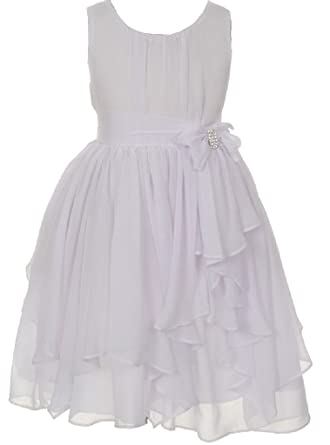 5144a352030c Image Unavailable. Image not available for. Color: Little Girls Yoryu  Chiffon Rhinestone Waist Bow Flowers Girls Dresses White Size 6