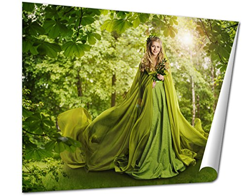 Ashley Giclee Fantasy Fairy Tale Forest Fairytale Nature Goddess Nymph Woman Green Dress wall art poster print for bedroom, ready to frame, 16x20 Print (Earth Goddess Costume)