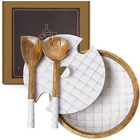 Decorative Wooden Salad Bowl Set White & Gold, mango picket salad bowl with servers & lid, huge picket fruit bowl, wood salad bowl units, picket bowl with server, picket bowl for meals, Wooden Bowls with lid