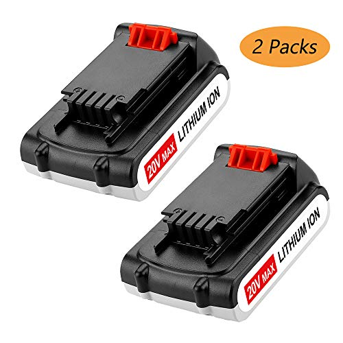 LBXR20 2000mAh Replacement for Black and Decker 20V Battery 20 Volt MAX Lithium Ion LBXR20 LB20 LBX20 LBXR2020-OPE LBXR20B-2 LB2X4020-2 Packs