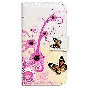 """Casea Packing Purple Floral Butterfly Card Slot Wallet Leather Cover Case for 4.7"""" iPhone 6 6G"""