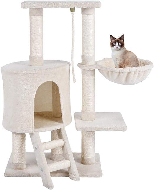 MC Star Árbol para Gato con Rascador Hamaca Plataformas Arañazo Juguete de Gatos de Sisal Natural 96cm, Beige