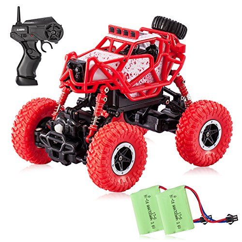 Tobeape RC Car, 4WD Offroad Remote Control Car, 1/43 Scale High Speed RC Truck, Best Birthday Christmas Gift for Kids and Adults (2 Rechargeable Batteries Included) - Red