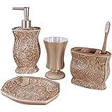 Victoria Bath Ensemble, 4 Piece Bathroom Accessories Set, Victoria Collection Bath Gift Set Features Soap Dispenser, Toothbrush Holder, Tumbler, & Soap Dish