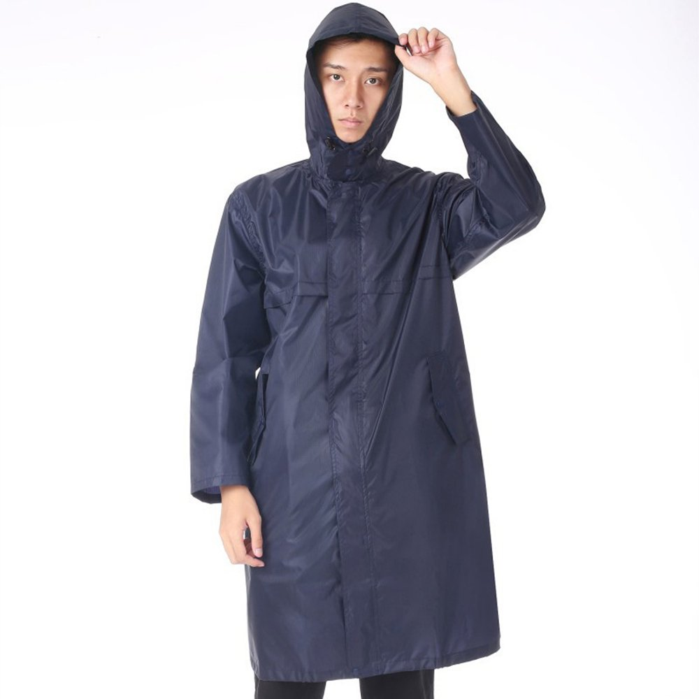 Aihifly tragbar Der Lange Blaue Regenmantel der Männer tragbarer im Freien Spielraum-Fischen-Regenmantel-Poncho-Licht-Regenmantel