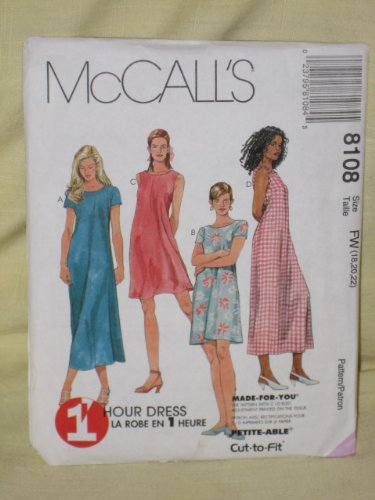 McCall's 8108 Sewing Pattern Misses Pullover Dress Size - Size FW ()