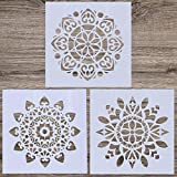 LOCOLO 3 Pieces Mandala Floor Stencil (12x12 inch) Reusable Painting Stencil, Laser Cut Painting Template for DIY Decor Wall Tile Wood Furniture Fabric, Painting on Wood, Airbrush, Rocks