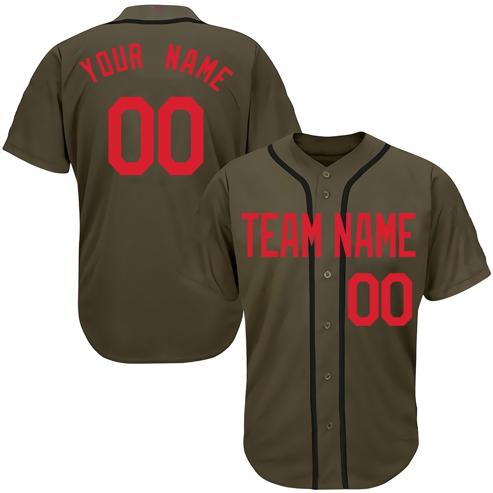 Custom Youth Camo Green Salute to Service Baseball Jersey with Embroidered Your Name & Numbers,Red Size 2XL by DEHUI