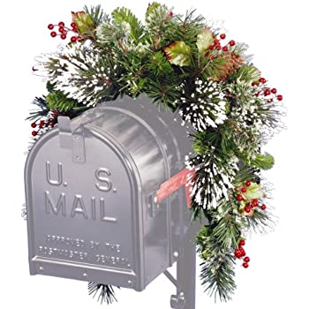 national tree 3 foot wintry pine collection mailbox swag with red berries cones and snowflakes wp1 813 3 1