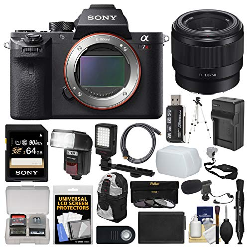 Sony Alpha A7R II 4K Wi-Fi Digital Camera Body with FE 50mm f/1.8 Lens + 64GB Card + Backpack + Flash + Video Light + Battery Kit