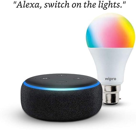 Echo Dot (3rd Gen, Black) Combo with Wipro 9W LED Smart Color Bulb - Smart Home Starter Kit