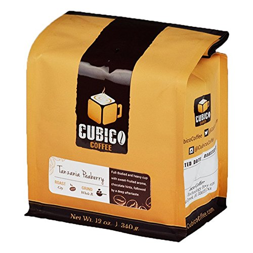 100% Tanzania Peaberry Coffee - Cubico Specialty Coffee - Gourmet Roasted Arabica Whole Bean - 12 Ounce (Medium Roast)