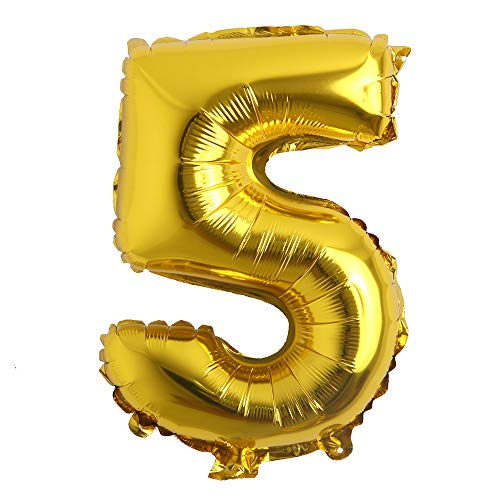 16 inch Single Gold Alphabet Letter Number Balloons Aluminum Hanging Foil Film Balloon Wedding Birthday Party Decoration Banner Air Mylar Balloons (16 inch Gold 5)
